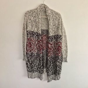 UO Ecote Chunky Knit Printed Open Front Cardigan